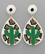 Bead Cactus Teardrop Earrings