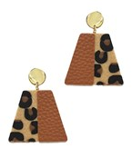 Leopard Leather Trapezoid Earrings