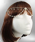 Pearl and Bead Drape Halo