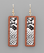 Snake Print Bar Earrings