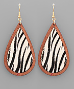 Zebra Print Teardrop Earrings