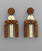 Wood Bar Fringe Earrings