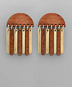 Wedge & Bar Wood Earrings