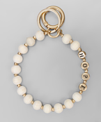 Hope Wood Bead Key Ring Bracelet