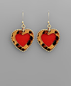 Leopard Trim Heart Earrings