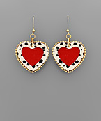 Cheetah Trim Heart Earrings