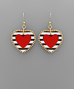 Stripe Trim Leather Heart Earrings