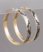 70mm Snake Skin Leather Hoops