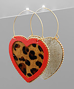 Leopard Heart Hoops