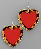 Large Leopard Trim Heart Earrings