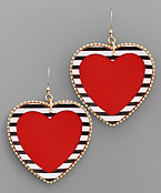 Large Stripe Trim Heart Earrings