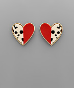 Cheetah Half Heart Studs