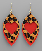 Leopard Heart & Marquise Earrings