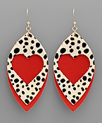 Cheetah Heart & Marquise Earrings