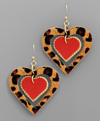 Leopard Cut Out Heart Earrings
