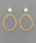 Oval Beaded & Pearl Earrings