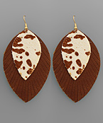 Cowhide Layer Feather Earrings