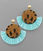 Cowhide Disc Raffia Fan Earrings