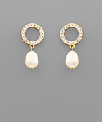 Crystal Circle & Freshwater Pearl Earrings