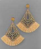 Filigree Rhombus Wood & Tassel Earrings