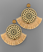 Filigree Disk Wood & Tassel Earrings
