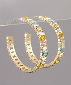 Rectangle Bead Open Hoops