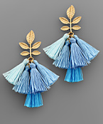 Leaf & Multi Tassel Earrings
