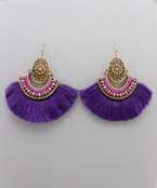 Fanshape Tassel & Oval Earrings