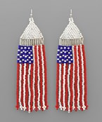 US Flag Bead Tassel Earrings