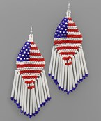 Marquise USA Flag & Tassel Earrings