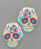 Sugar Skull Bead Earrings