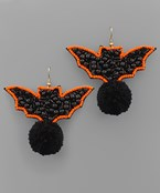 Bat & Pom Pom Earrings