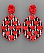 Heart Pattern beaded Oval Earrings