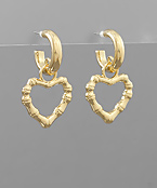 Bamboo Heart Dangle Hoops