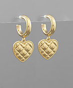 Quilt Textured Heart Dangle Hoops