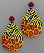 Mixed Animal Print Wood Drop Earrings