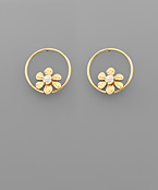 Flower & Circle Earrings