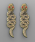 Bugle Beaded Snake Earrings