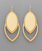 Wood Marquise Double Layer Earrings