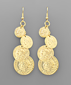 4 Gradual Coin Dangle Earrings