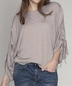 Ruched Sleeve Jersey Top