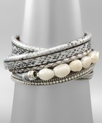 Pearl & Leather Wrap Bracelet