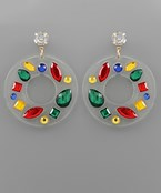 Jeweled Lucite Circle Earrings