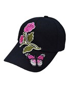 Double Rose & Butterfly Patch Cap