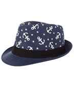 Anchor Print Straw Fedora