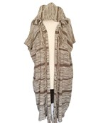 Hooded Stripe & Fringe Ruana