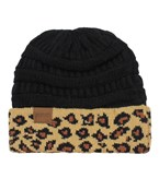 Leopard Accent Knit Beanie