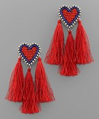 Triple Tassel Trim Heart Earrings