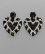 Bead Dome & Heart Earrings