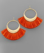 Game Day Fan Tassel Circle Earrings